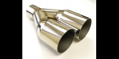 "3.5"" Dual Offset Exhaust Tip Polished S.S. Y Pipe"