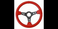 "NRG 350mm Steering Wheel 3"" Deep Red Leather w/ Black Stitching"