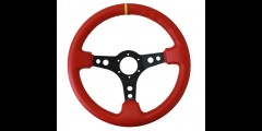 "NRG 350mm Steering Wheel 3"" Deep Red Leather w/ yellow Stitching"