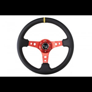 "NRG 350mm Sport Steering Wheel 3"" Deep Red w/ Yellow Center"