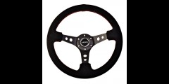 "NRG 350mm Steering Wheel 3"" Deep Suede w/ Red Stitching"